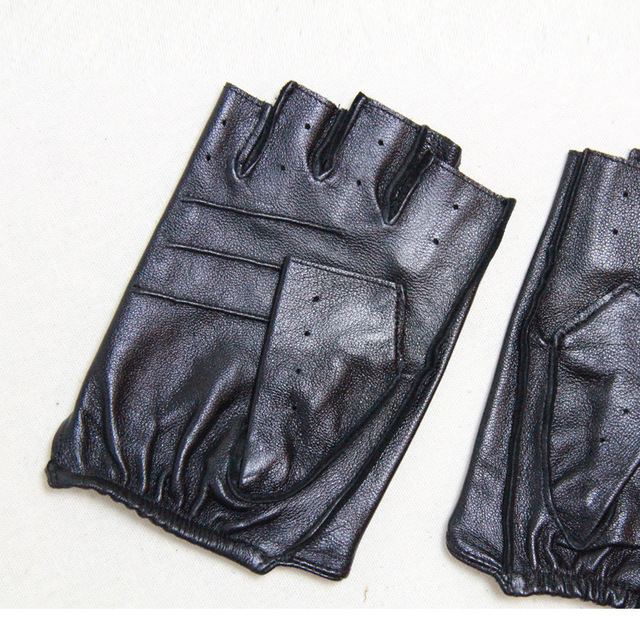 Genuine Leather Half Finger Gloves For Men