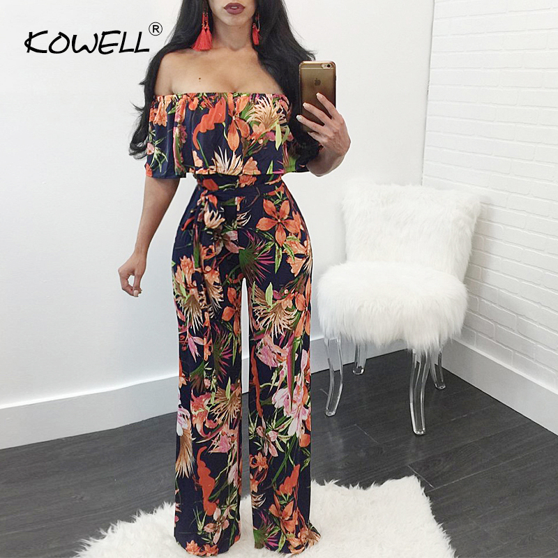 Sexy Jumpsuit Overalls Rompers Lace-Up Off-Shoulder Bohemian Beach Plus-Size Summer Palm-Print