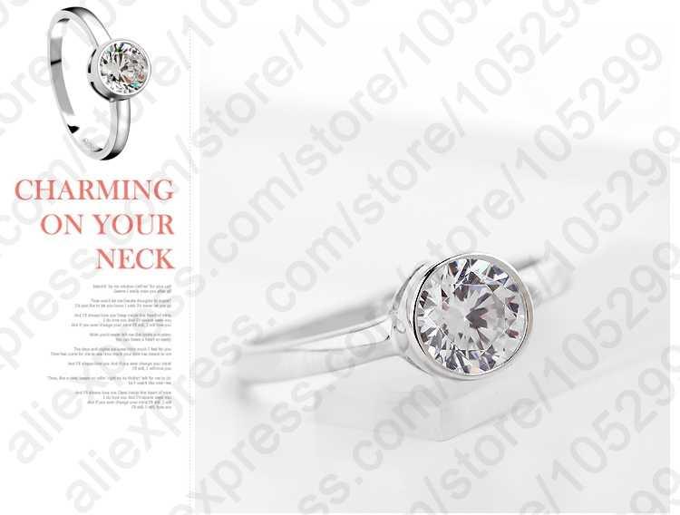 موضة 925 فضة مجوهرات أنيقة امرأة الزفاف حجر جودة عالية كريستال تشيكوسلوفاكيا خاتم كلاسيكي شحن مجاني