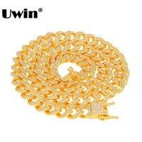 Uwin, кубинское звено, цепочка, ожерелье, 13 мм, полное Сверкающее, со стразами, серебро, золотой цвет, модное ювелирное ожерелье