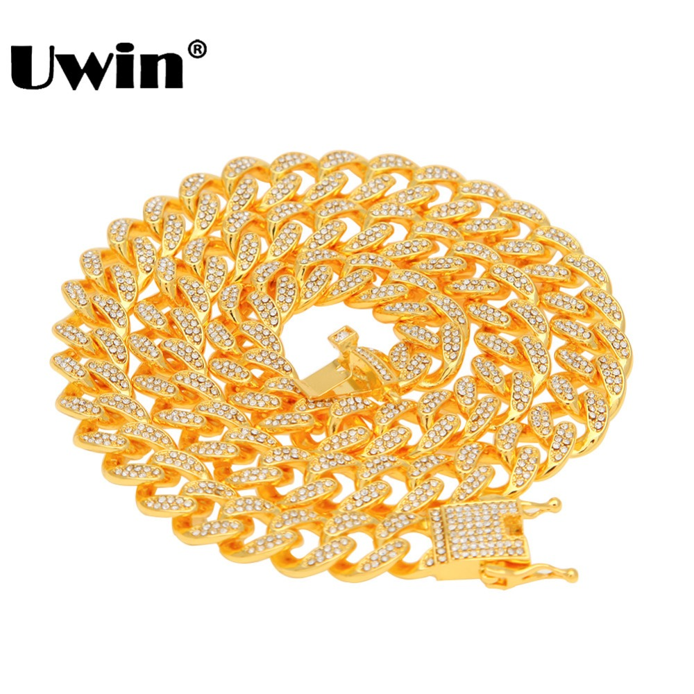 Uwin Miami Cuban Link Chain Necklace 13mm Full Bling Bling Iced Out Rhinestones