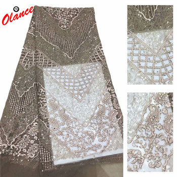 High quality pure color with nice sequins Design dress fabric AXC19 with rhinestones Wholesale Popular Tulle Lace Fabric