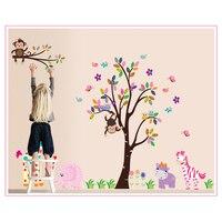 Cartoon aap giraffe woord van dieren pvc wall art decals woonkamer home decoraties decals diy posters