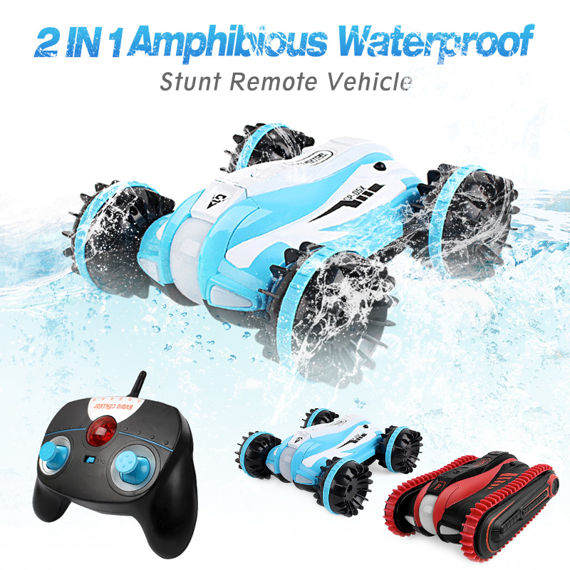 Amphibious Waterproof RC Car Stunt Vehicle Land Water Off Road Truck 2.4Ghz 1/12 High Speed 360 Degree Spins & Flips