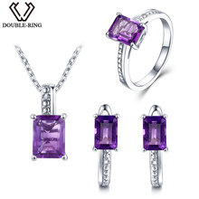 DOUBLE-R Natural Diamond Wedding Jewelry Sets Women 4.45ct Real Amethyst Earring Ring 925 Sterling Silver Necklace Pendant Gift
