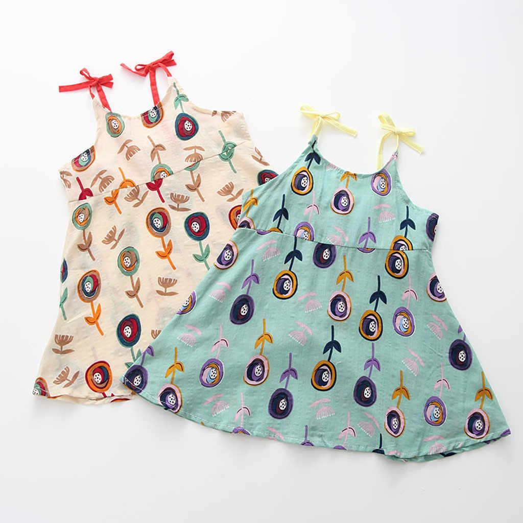 ARLONEET 2019 Yeni yaz bebek Elbise Toddler Bebek Bebek Kız Karikatür Çiçek Kolsuz Askı Prenses Elbise Kıyafetler Z0207
