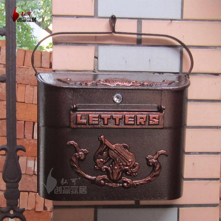 european cast iron mailbox wall mount metal post letters box fashion vintage newspaper box post