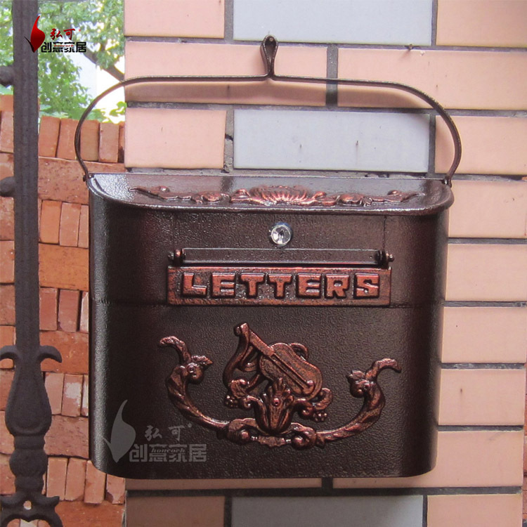 2015 European cast iron mailbox Wall Mount Metal Post Letters Box Fashion Vintage Newspaper box Post Letter Box