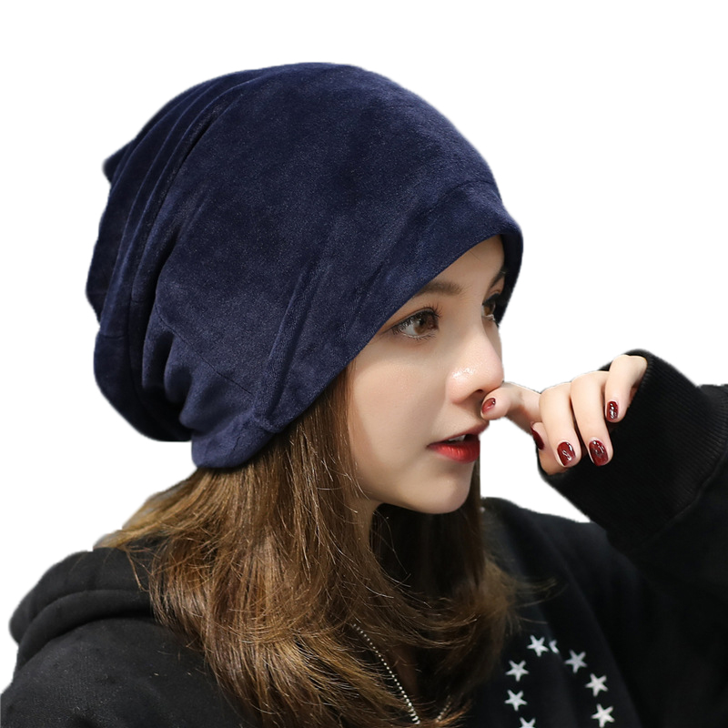 Women's Cotton Hat   Skullies     Beanies   Girls Knitted Hats Spring Autumn 2018 New Fashion Casual Velvet Hat Women Winter Warm Caps