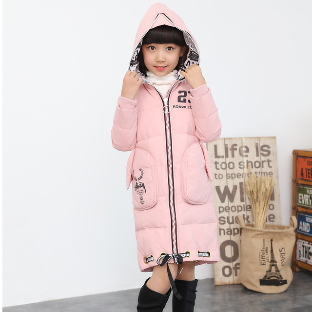ddc8bd06148 Jacket Girl Casual Children Parka Winter Coat Duck Long Section Down Thick  Fur Hooded Kids Winter