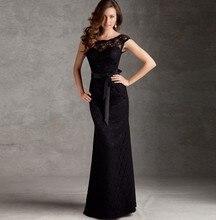 party prom dresses mermaid belt vestido de renda 2014 new fashion sexy women black lace elegant long evening dress free shipping