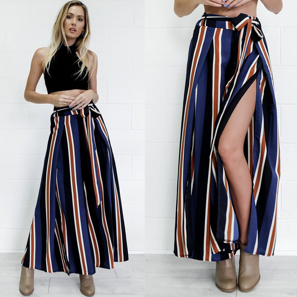 Women High Split   Wide     Leg     Pants   Cropped Bell Bottom   Pants   Side Slit Contrast Striped Back Zipper Flared Loose Casual Trousers