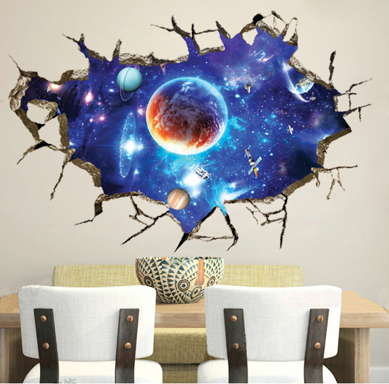 Removable 3D Planet Wall Paper Waterproof Vinyl Art Mural Decal Universe Stars Wall Sticker For Kids Room Home Ceiling Decor wallpaper removable art vinyl quote diy wall sticker decal mural home room decor 350011