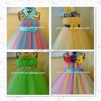 Mode zomer jurk zuigeling pluizige tule baby handgemaakte tutu jurk meisje verjaardag jurken tutu