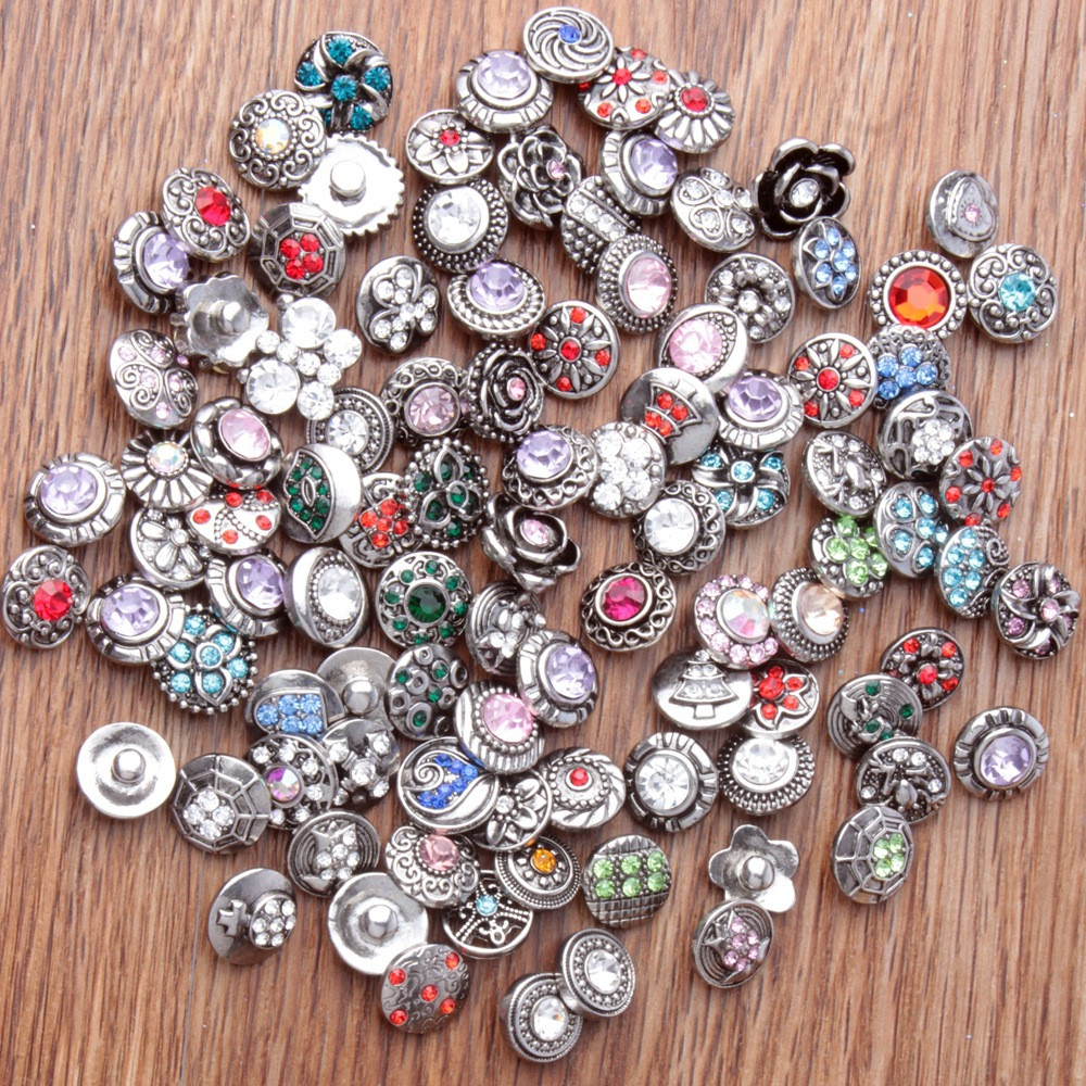 100pcs/lot Mix Rhinestone <font><b>Snap</b></font> <font><b>Buttons</b></font> Metal Decorative <font><b>Buttons</b></font> fit <font><b>12mm</b></font> DIY <font><b>Snap</b></font> Bracelet <font><b>Jewelry</b></font> Making image