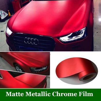 Red Metallic Matt Vinyl wrap Car Wrap With Air Bubble Free Chrome Red Matt Film Vehicle Wrapping Sticker Foil Size1.52x20m/Roll