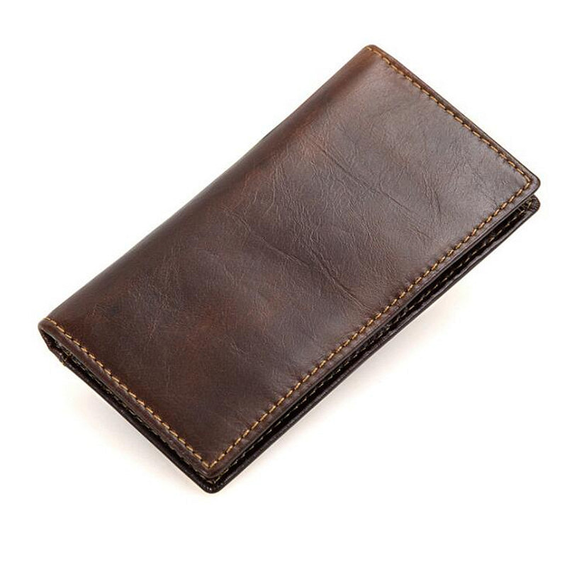 Minimalist Vintage Designer Genuine Leather Men Slim Thin Wallet Male Long Purse Money Clip Credit Card Dollar Price