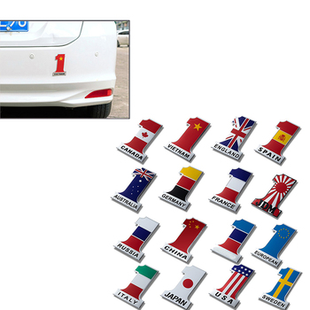 NO.1 Flag Car Styling 3d Metal Emblems Sticker For Subaru Forester Impreza Kia Ceed Rio Citroen C4 C3 C5 Fiat BMW E70 G30 E30 x1 image