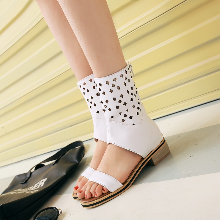 ФОТО Sandals women's shoes summer flat cutout mesh boots cool boots 40 young girl 41 43 plus size
