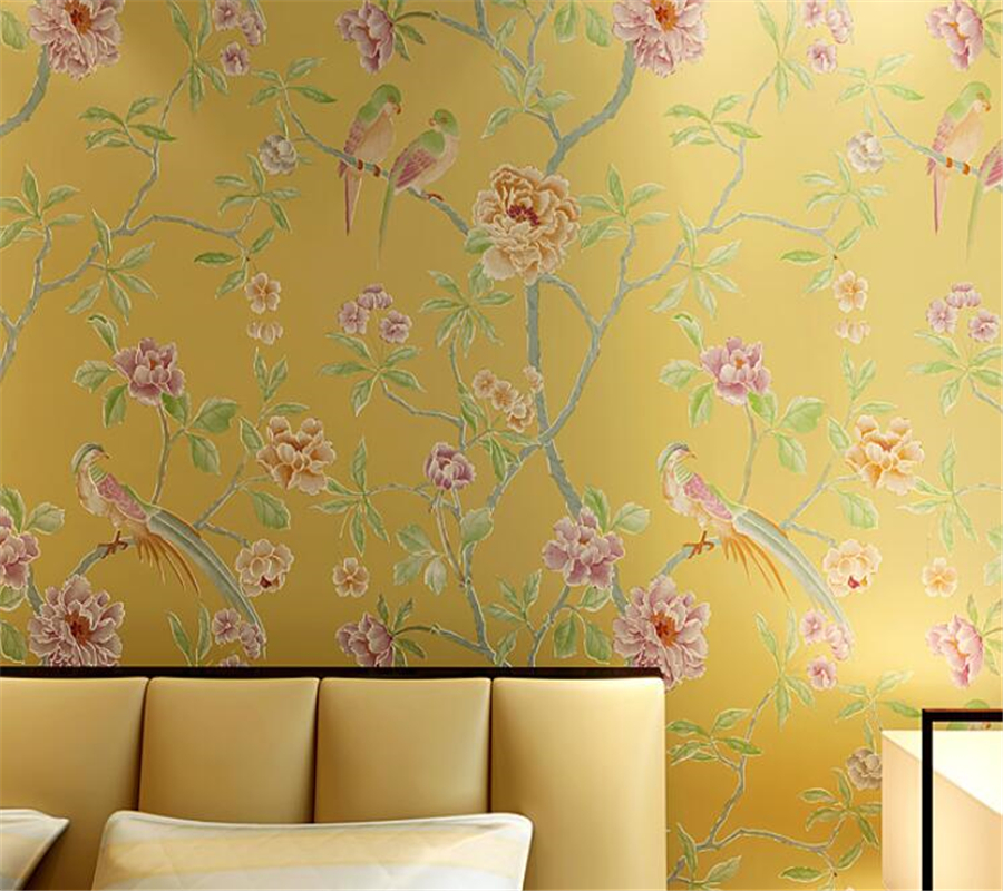 купить Beibehang Chinese wallpaper non - woven Flowers and birds 3D wallpaper of the living room bedroom wall wallpaper papier peint недорого