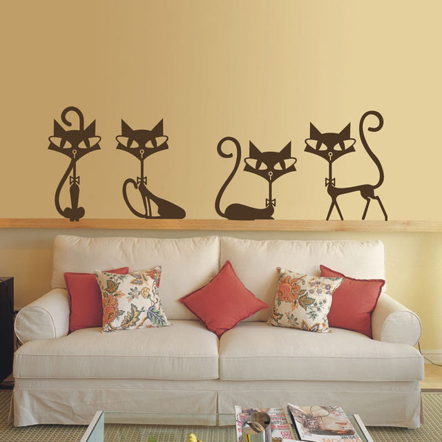 HWHD Kids Cute Persian Cat Vinyl Art Girl\'s Room Wall Sticker Decal ...