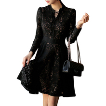 2018 Autumn Winter New Vintage Elegant Sexy Flare Black Hollow Out Embroidery Lace Long Sleeve Women Dress Office Evening Party
