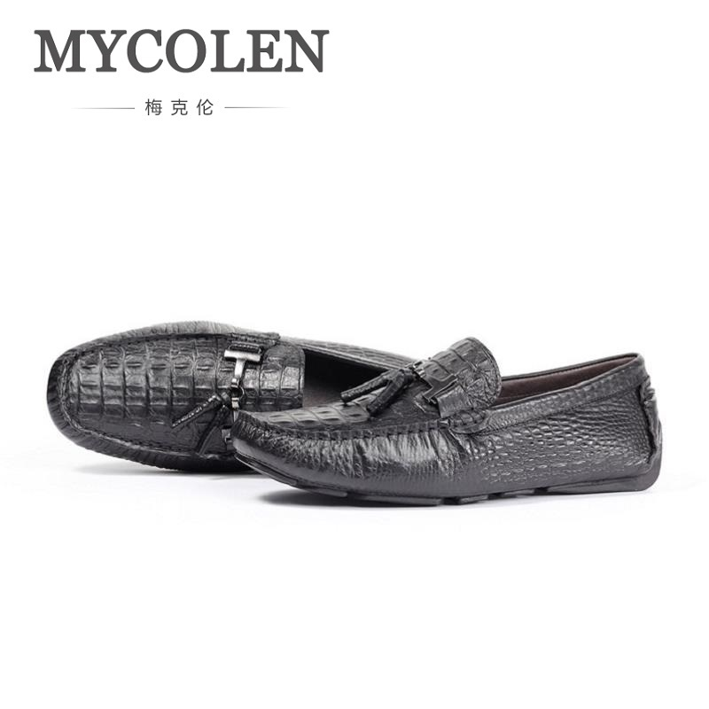 MYCOLEN 2018 New Crocodile Skin Men Shoes With Leather Tassels Handmade Flat Shoes Men Loafers Wedding Shoe Sapatos HomensMYCOLEN 2018 New Crocodile Skin Men Shoes With Leather Tassels Handmade Flat Shoes Men Loafers Wedding Shoe Sapatos Homens