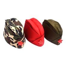 Modny kapelusz wojskowy rosyjski czapka wojskowa zielony Camo odznaka kobiety mężczyźni marynarz występ na scenie Cosplay kapelusze chiński czapka LB tanie tanio ACRDDK Poliester Unisex Dla dorosłych 31062 Czapki wojskowe
