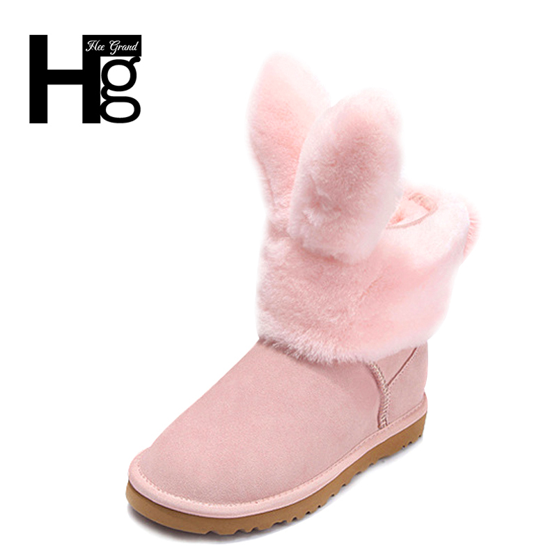 HEE GRAND Women Snow Boots Detachable Cute Rabbit Booties Winter Warm Plush Fur Black Shoes Women Fat Girl's Boots 35-40 XWX6202 black and white senior rabbit fur hat