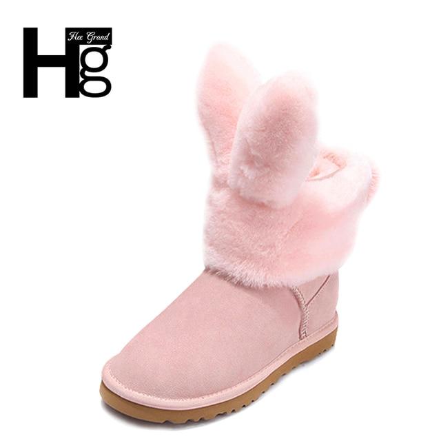 HEE GRAND Women Snow Boots Detachable Cute Rabbit Booties Winter Warm Plush  Fur Black Shoes Women Fat Girl s Boots 35-40 XWX6202 6090eef11679