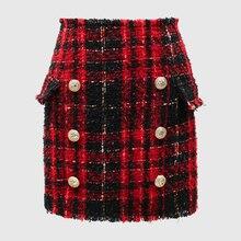 새로운 패션 활주로 2020 바로크 디자이너 스커트 여성 사자 단추 색상 격자 무늬 트위드 울 미니 스커트