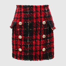 Lion Buttons  Plaid Tweed Wool Mini Skirt