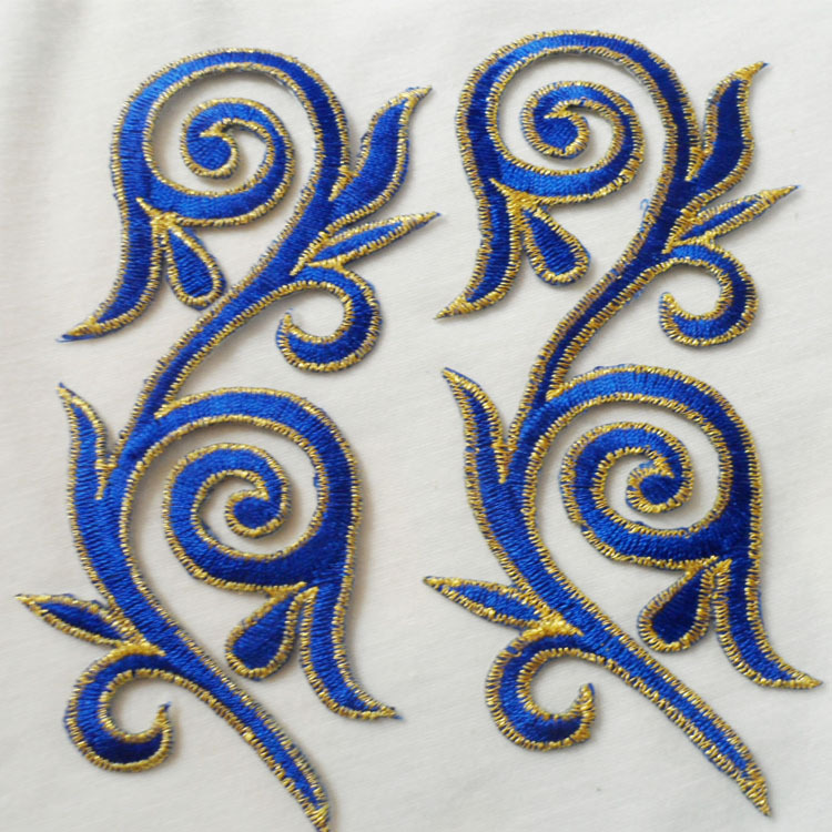Ethnic Embroideried Blue Flower Patch for Clothing Auspicious Clouds Iron on Patches DIY Cloth Women Dress Accessories 20pcs/lot