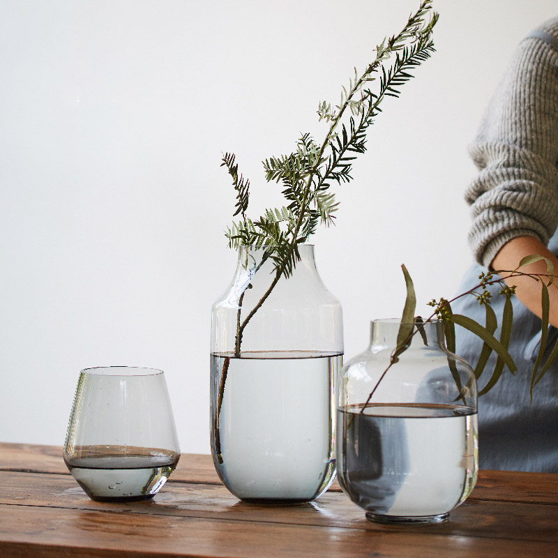 Style nordique froid gris verre vase transparent simple créatif hydroponique vase décoration salon table vase
