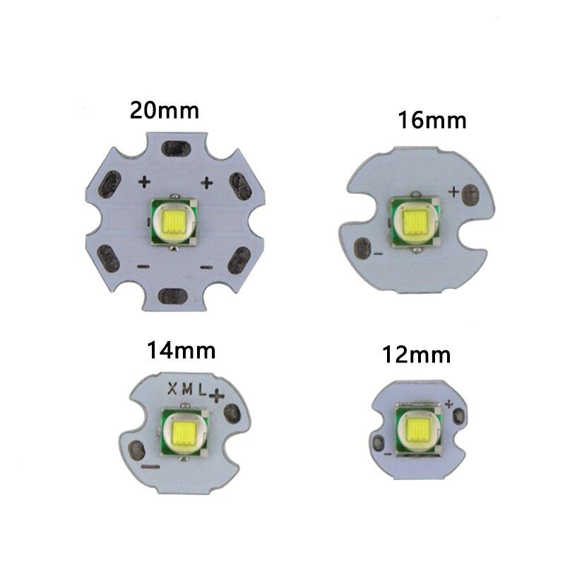 1 PCS XML XM-L1 T6 LED U2 10W WHITE High Power LED Emitter with 12mm 14mm 16mm 20mm PCB for DIY Flash Light LED Headlamp