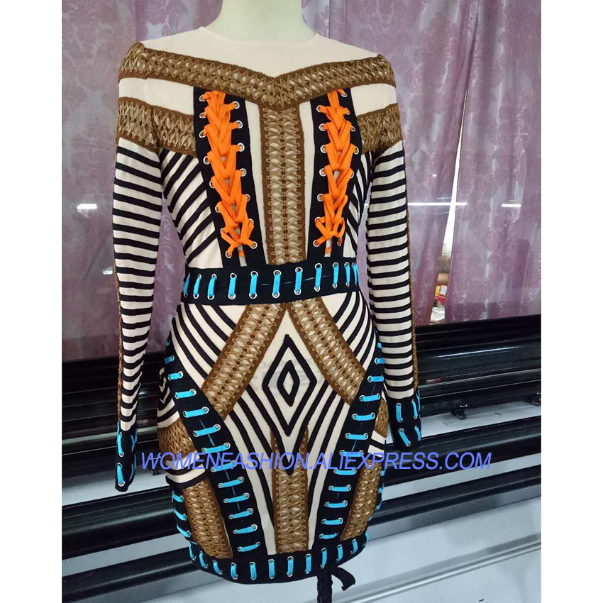 Newest Paris Fashion Baroque Designer Dress Women's Luxurious Hand Work Multi Colors Rope Lacing Dress