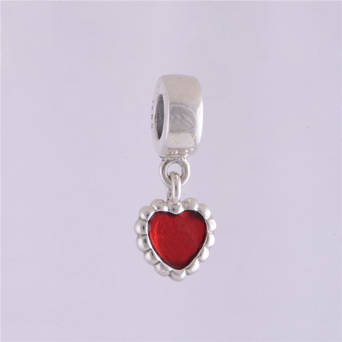 S925 Sterling Silver Dark Red Enamel Forever Heart Dangle