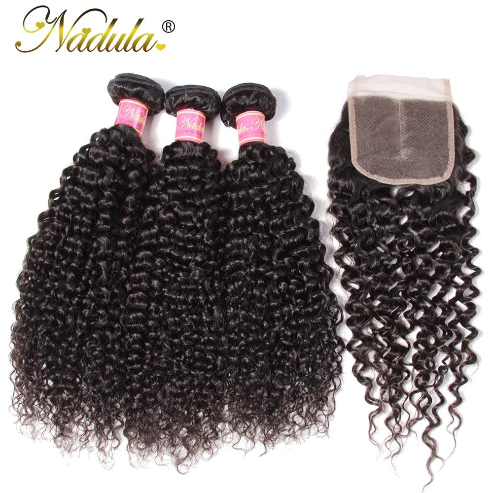 Nadula Hair Malaysian Curly Hair With Closure 3 Bundles With Closure Malaysian Hair Bundles With Closure