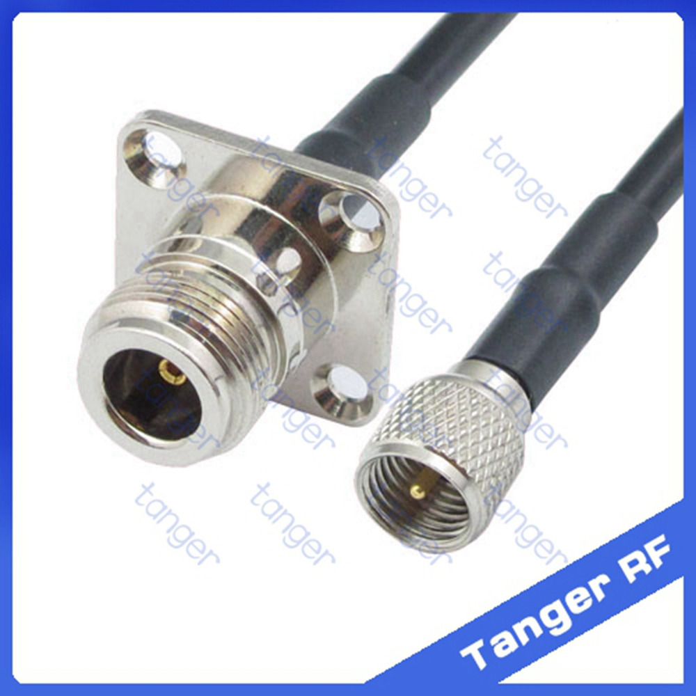 все цены на Tanger Mini UHF male plug PL259 SL16 to N female jack 4four hole panel straight RF RG58 Pigtail Jumper Coaxial Cable 20inch 50cm