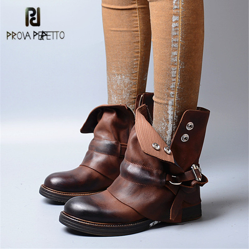 Prova Perfetto British Ankle Boots for Women Round Toe Female Genuine Leather Rubber Martin Boots Platform Straps Botas Mujer replacement projector lamp for epson powerlite 800p powerlite 810p powerlite 811p powerlite 820p