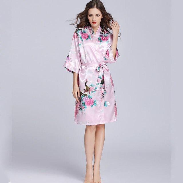 New Silk Satin Robe Women Floral Bathrobe Kimono Gown Summer Casual Loose Sashes Dress Three Quarter Sleeve Women Clothing