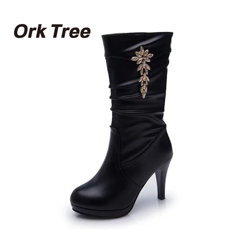 Ork Tree Winter Women Boots Black Solid High Heel Mid Calf Boots Fashion Ladies Boots Metal Decoration Casual Shoes for Women30 most popular women summer mid calf boots high heel sandals open toe cutouts design elegant black stilettos ladies casual shoes