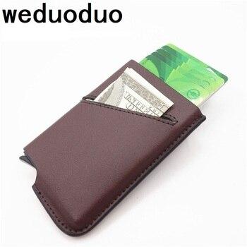 Weduoduo 2019 Mới Phong Cách Thực Da Thẻ Tín Dụng Chủ Chống trộm RFID Thẻ Trường Hợp Chất Lượng Cao Thẻ Wallet Pop lên Thẻ
