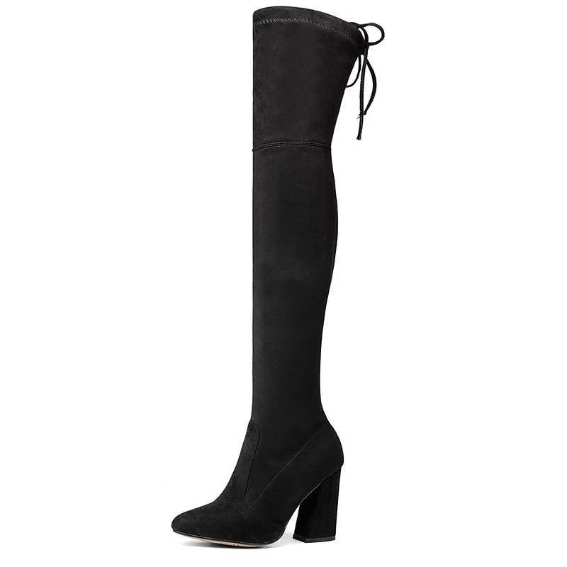 ENMAYER 2019 yeni varış kadın süper yüksek diz çizmeler üzerinde Akın kadın çizmeleri kış Temel Sivri Burun boyutu 34 -43 LY4006