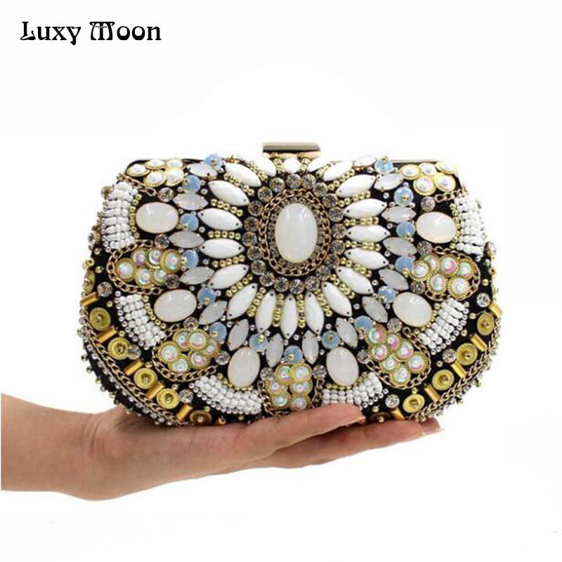 ФОТО 2016 Embroidery Diamond Dinner Clutch Upscale Bridal Clutches Vintage Purse Female Day Clutch Evening Bag Handbag ZD446