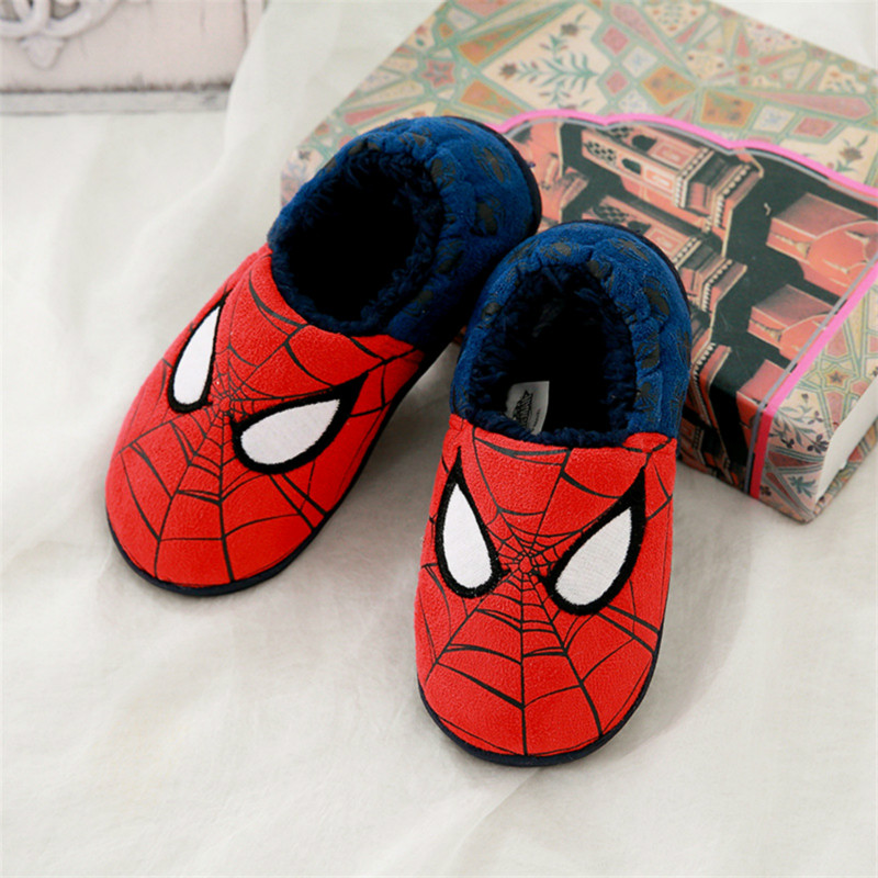 Kids Slippers Boys Girls Cotton-padded Shoes Home Wear Shoes Cartoon Spider-Man Non-slip Baby Toddler Slipper Warm House Shoe