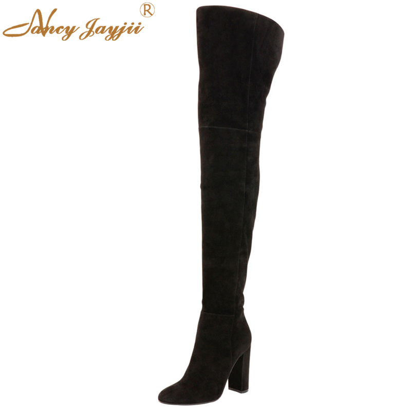 BC Women Winter Black Round Toe Suede Over the Knee High Heels Boots Shoes for Woman,botas zapatos mujer nancyjayjii 2017 fashion lady black suede peep toe high heels ankle boots shoes for woman zapatos botas mujer plus size 5 14