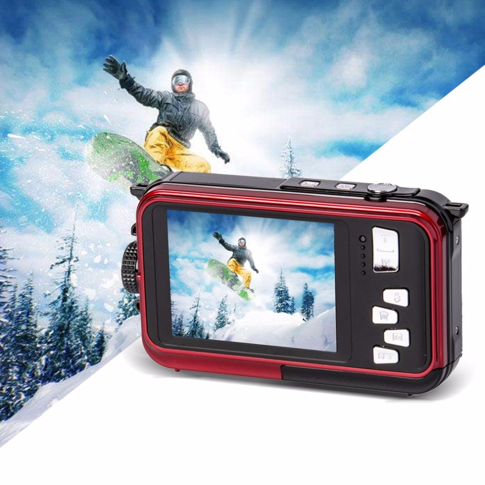 Double Screen Underwater Camera HD Waterproof Photo Shooting Video Recording Sports Diving LED Flash Digital Video Camera mini 5 5mm camera diameter dust proof and waterproof recordable video adjustable led lights video and photo browsing
