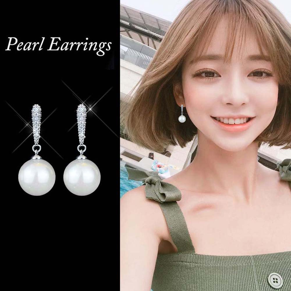 Fashion Silver-color Simulated Pearl Pendant Long Earrings For Women Bridal Wedding Pearl Drop Earrings Fashion Jewelry 2019