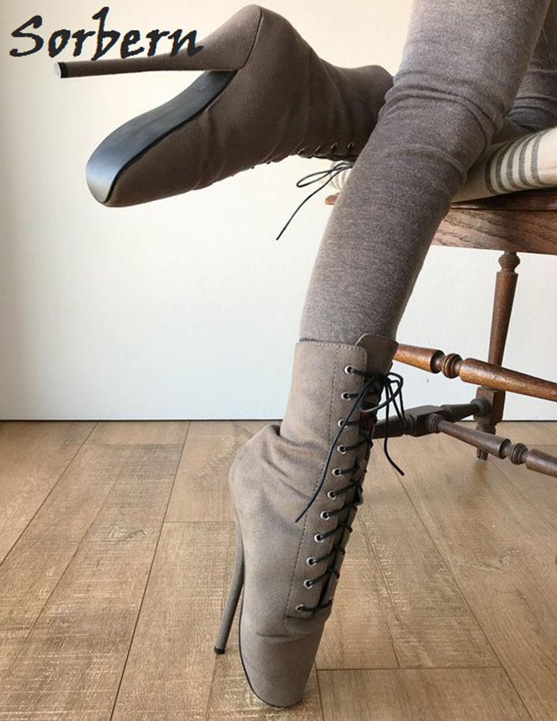 Sorbern 7 Zoll Ferse Ankle Boot Ballett High Booties Frauen Gefälschte Wildleder Ankle Lace Up Stiefel Exotic Schuhe Nach Farben große Größe 15-in Knöchel-Boots aus Schuhe bei  Gruppe 2